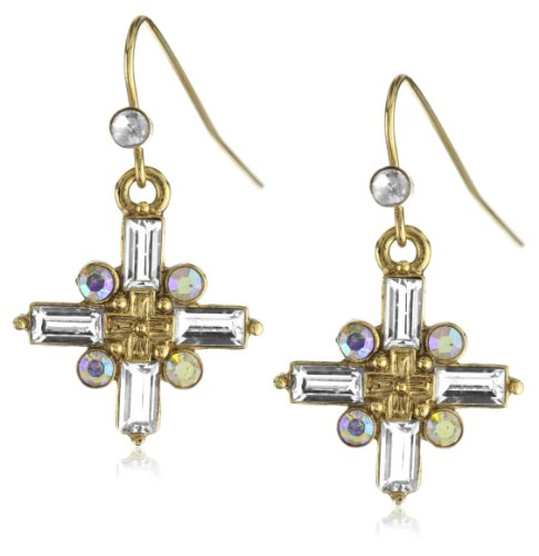 The Vatican Library Collection® Gold-Tone Crystal Cross Earrings