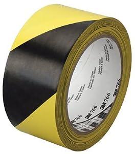 "3M Industrial - Hazard Marking Vinyl Tape 766 3M Hazard Warning Tape 7 66 Black/Yellow 2""X36 Yd - Sold as 1 Roll"