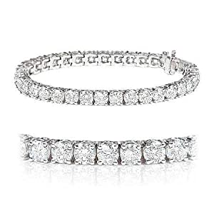 Brand New F/VS 3.00Ct Round Diamond Tennis Bracelet, 18k White Gold