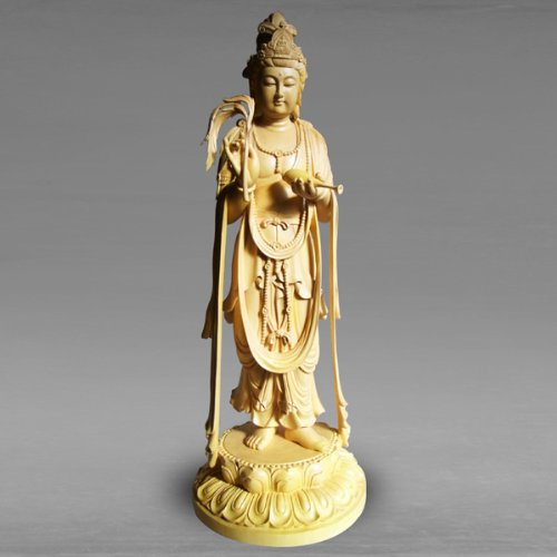 職人による手作りの精巧な木像 工芸美術品 仏像 浄瓶観音菩薩立像