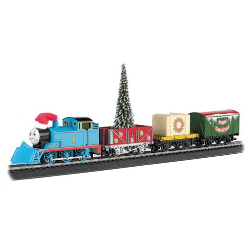 Blue Ho Scale Electric Train Toy Set Thomas Tank Engine, Flat Car & Open Wagon