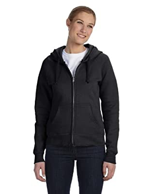 Hanes Women's Raglan Sleeves Full-Zippered Cotton Hoody - BLACK - XX-Large by Hanes
