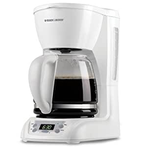 Black & Decker DLX1050W 12-Cup Programmable Coffeemaker with Glass Carafe, White