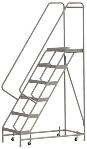 Tri-Arc WLAR106244 6-Step All-Welded Aluminum Rolling Industrial & Warehouse Ladder with Handrail, Ribbed Tread, 24-Inch Wide Steps