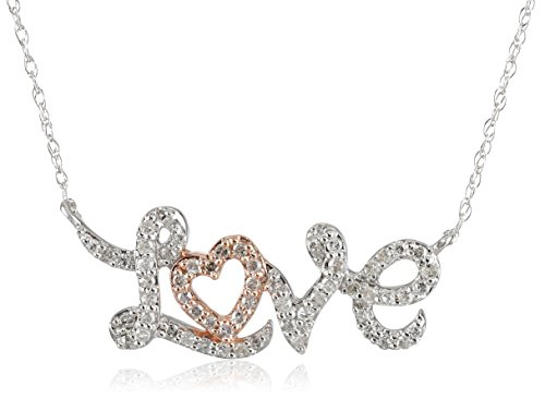 10K White Gold With Pink Gold Plated Diamond Love Necklace (1/4 Cttw, I-J Color, I2-I3 Clarity), 18""