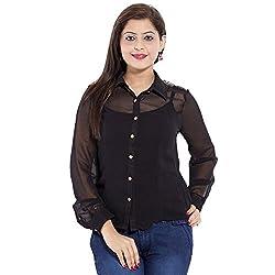 Belomoda Women Georgette Shirt (BLKGGTSHIRT_BLACK_S)