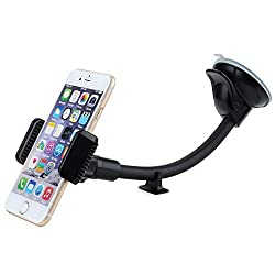 Car Mount, Mpow Grip Flex Clip Windshield 8.66 inches Long Arm Car Holder with Extra Dashboard Base and Double Strong Suction for iPhone 6S/6S Plus/6S/6/5,Galaxy, HTC,GPS Devices and More
