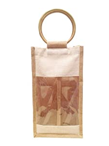 50 Pcs Pack -2 Bottle Wine Holiday Bag, Jute/ burlap Wedding guest Bag