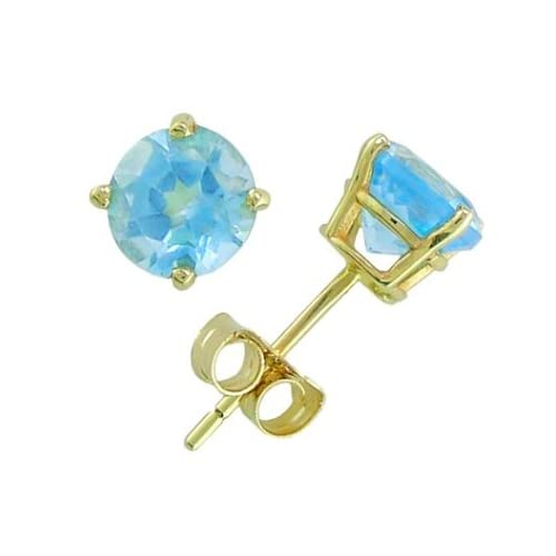 14K Yellow Gold Four Prong 7mm Round Coated Blue Topaz Stud Earrings