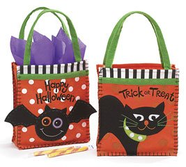 (2) Assorted Felt Halloween Candy/ Gift Bags