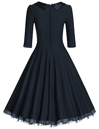 MUXXN Women's 1950s Vintage 3/4 Sleeve Rockabilly Swing Dress(2XL,Blue)