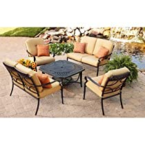 Hot Sale PATIO FURNITURE CAST ALUMINUM OUTDOOR LAWN & GARDEN PAXTON PLACE BETTER HOMES & GARDENS 5 PC WITH FIRE PIT, CUSHIONS AND PILLOWS