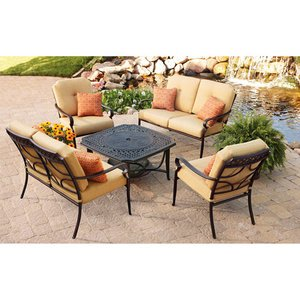 PATIO FURNITURE CAST ALUMINUM OUTDOOR LAWN & GARDEN PAXTON PLACE BETTER HOMES & GARDENS 5 PC WITH FIRE PIT, CUSHIONS AND PILLOWS