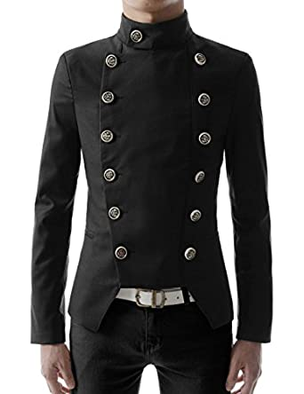 Steampunk Men's Coats High neck Slim fit Short Jacket  AT vintagedancer.com