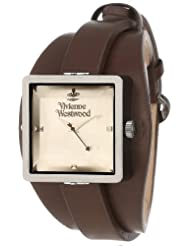 Vivienne Westwood Cube Women's Quartz Watch with Silver Dial Analogue Display and Brown Leather Strap VV008GNBR