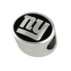 New York Giants NFL Jewelry and Bead Fits Most European Style Bracelets. High Quality Bead in Stock for Immediate Shipping