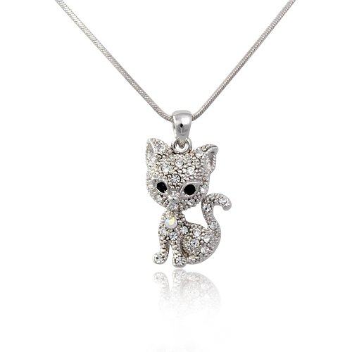 Sweet Crystal Kitty Cat Necklace Fashion Jewelry