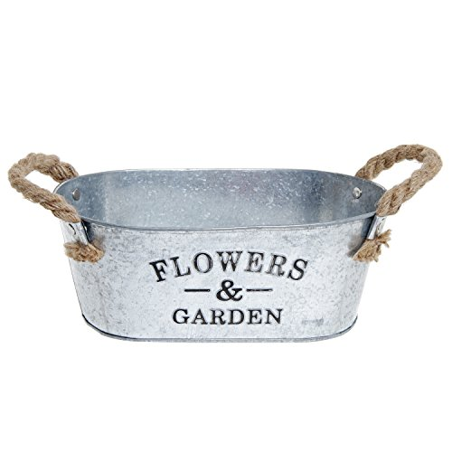 Rustic 'Flowers & Garden' Bucket Design Small Metal Succulent Plant Container w/ Twine Handles - MyGift® 1