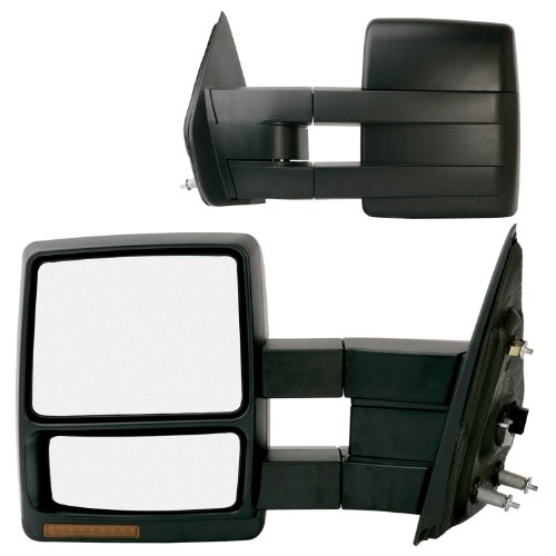 Fit System 61185-86F Ford F-150 Driver/Passenger Side Heated Power Extendable Towing Mirror with Turn Signal and Puddle Lamp - Pair (2011 F150 Tow Mirrors compare prices)