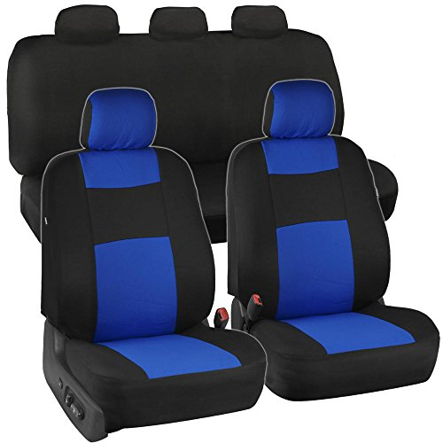 Black & Blue Polyester Seat Covers - Option Bench (Solid Bench) (Car Seat Covers For Chevy Tahoe compare prices)