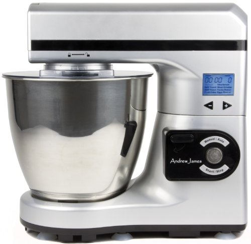 Andrew James Large 7 Litre Automatic Silver Food Stand Mixer - Powerful 1000 watt Motor -7 Automatic settings, Digital Control and LCD Display + 128 Page Food Mixer Cookbook