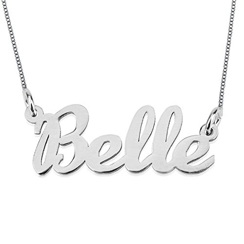 HACOOL Any Personalized Name Necklace 925 Sterling Silver Necklace in 18k Gold Plated Custom Any Name (Silver) (Sterling Silver Bullet Necklace compare prices)