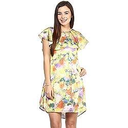 RARE Multi-color Cap Sleeves Satin dress for women