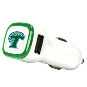 Buy NCAA Tulane Green Wave Car Charger, White by QuikVolt