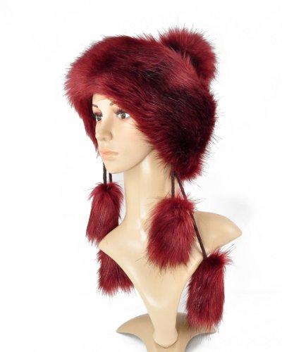 FELLMÜTZE STRICKMÜTZE Mongolische Mütze Bommel