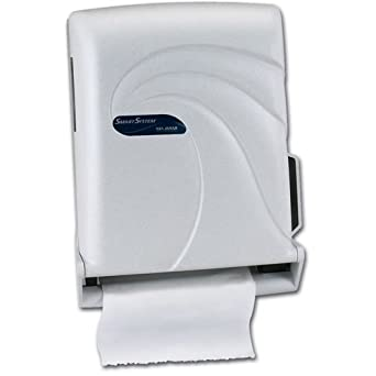 "San Jamar T1490 Oceans Smart System with IQ Sensor Roll Towel Dispenser, Fits 8"" Wide and 4"" Diameter Stub Roll, 11-3/4"" Width x 16-1/2"" Height x 9-1/4"" Depth, White Sand"
