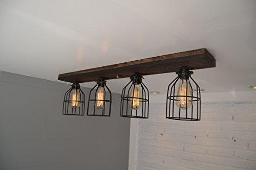Wood Flush Mount Ceiling Light (W/Cages)