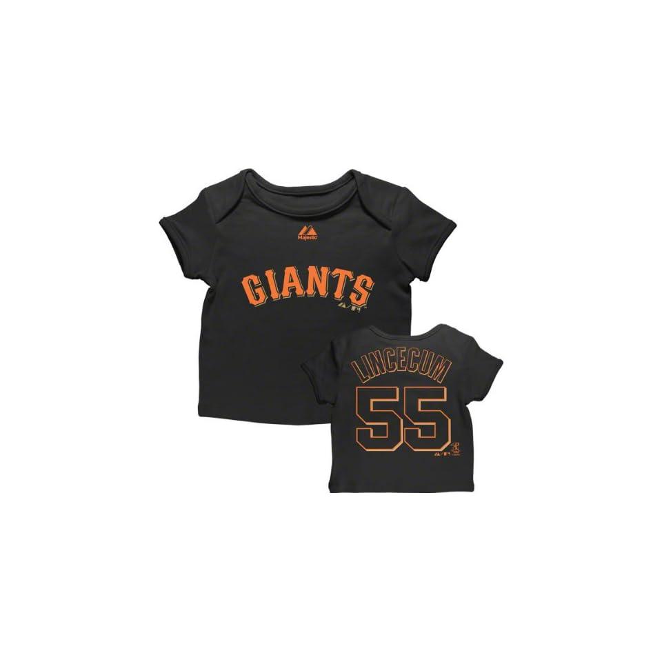 Tim Lincecum San Francisco Giants Newborn Black Name and Number Envelope T Shirt