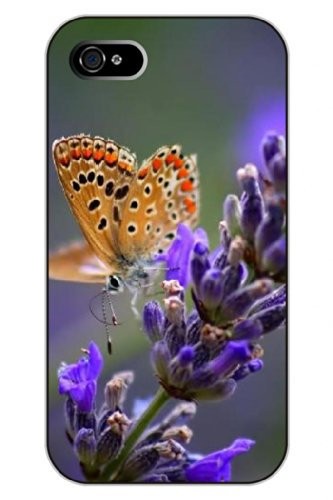 Sprawl Clear Print Lavender And Butterfly Protective Hard Plastic Snap On Uniqe Design Iphone 4S Case Flower