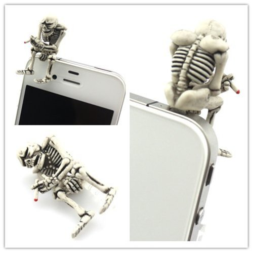Big Dragonfly Unique Smoking Skeleton 3.5Mm Headphone Jack Accessory Anti Dust Plug Cap For Iphone 5 Iphone 4 4S ,Ipad ,Ipod Touch 5,Samsung Galaxy S3 S4 Note Note 2,Htc