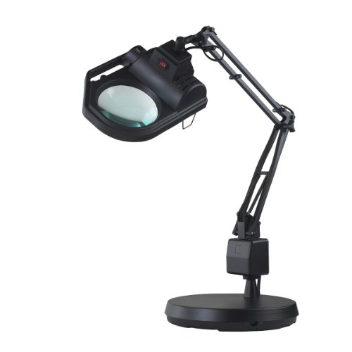 Electrix 7428 BLK Magnifier Lamp, Halogen, 3-Diopter, Weighted Base Mounting, 45