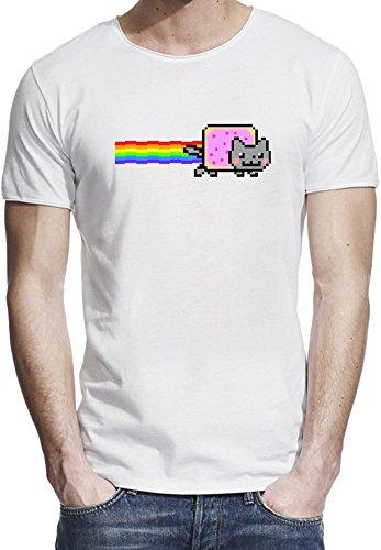 Nyan Cat Funny メンズ生のエッジTシャツ X-Large