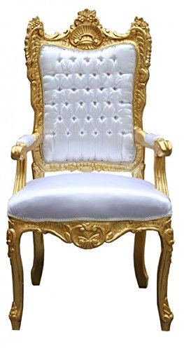 Casa Padrino Barock Thron Sessel Weiß/ Gold – Unikat – Königssessel- Hochzeitssessel