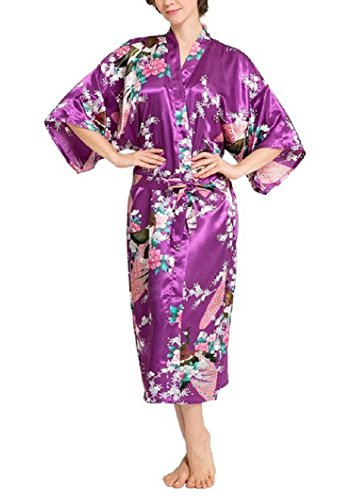 SexyTown Women's Long Floral Peacock Kimono Robe Satin Nightwear With Pockets