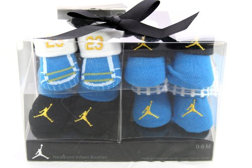 Nike Air Jordan 4 Pairs Newborn Infant Baby Booties Socks, Blue w/Air Jordan Logo Size 0-6 Months