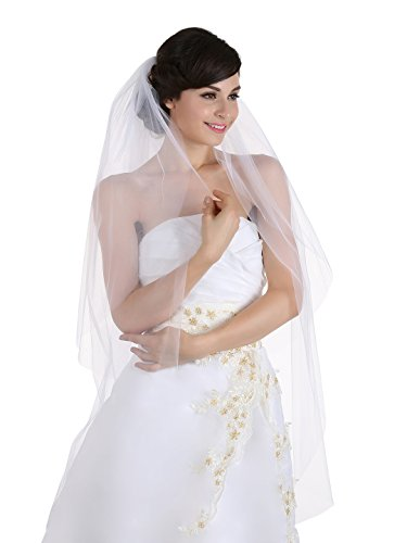 2T 2 Tier Cut Edge Bridal Wedding Veil - White Waltz Length 45