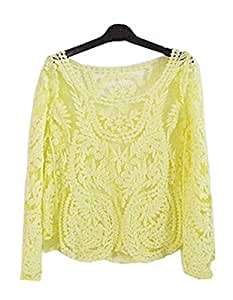 Floral Lace Crochet Tops Hallow Out Lace Blusas (S, Yellow): Baby