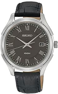 Stainless Steel Case Gray Dial Black Leather Strap Date Display