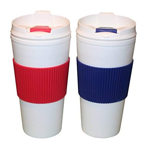 Travel Buddy Travel Coffee Mug 16 oz. Set of 2.BPA Free Double Wall Insulation. Hot or Cold Drinks. White Shell. Wrap Colors Vary. (Coffee Mug For Microwave compare prices)