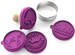 Silicandy Cookie Stamp Molds - 4/6 Set - Activities with Kids - Themes are Get Well Soon / Royal Princess / Social Media Tween / Spread the Love - Silicone Kit for Homemade Cookies [Purple]