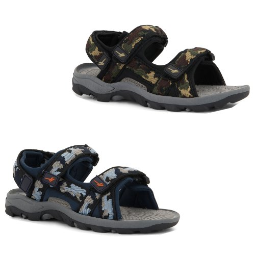 NEW KIDS JUNIORS BOYS COMFY CAMOUFLAGE SUMMER ADJUSTABLE VELCRO STRAP SANDALS