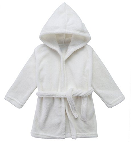 Yanzi6 Unisex-baby Winter Soft Soft Coral Fleece Flush Hooded Bath Robe (24-36 Months, White) (Toddler Hooded Robe compare prices)