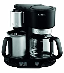 KRUPS KM310850 Latteccino 2-in-1 Coffee Maker Machine with Professional Milk Frother, 8-Cup, Black