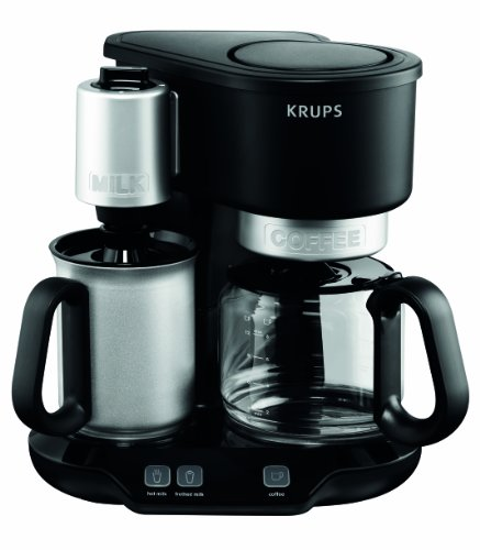 KRUPS KM310850 Latteccino 2-in-1 Coffee Maker with Professional Milk Frother, Black