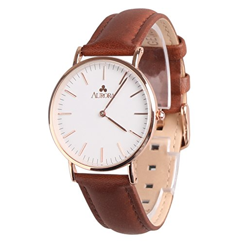 Aurora Women's Metal Retro Casual Round Dial Quartz Analog Wrist Watch with Brown Leather Band-Rose Gold 0