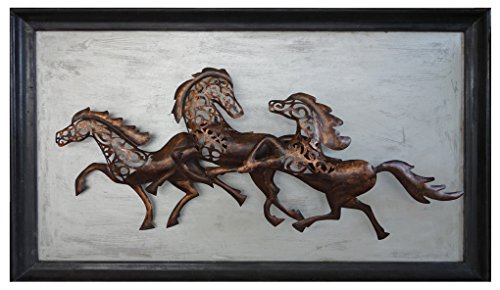 Lalhaveli Indian Traditional Antique Horse Iron Wall Art 53 X 31 X 2 Inches